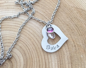 Hand Stamped Open Heart Necklace Personalized, non tarnish, hypo allergenic