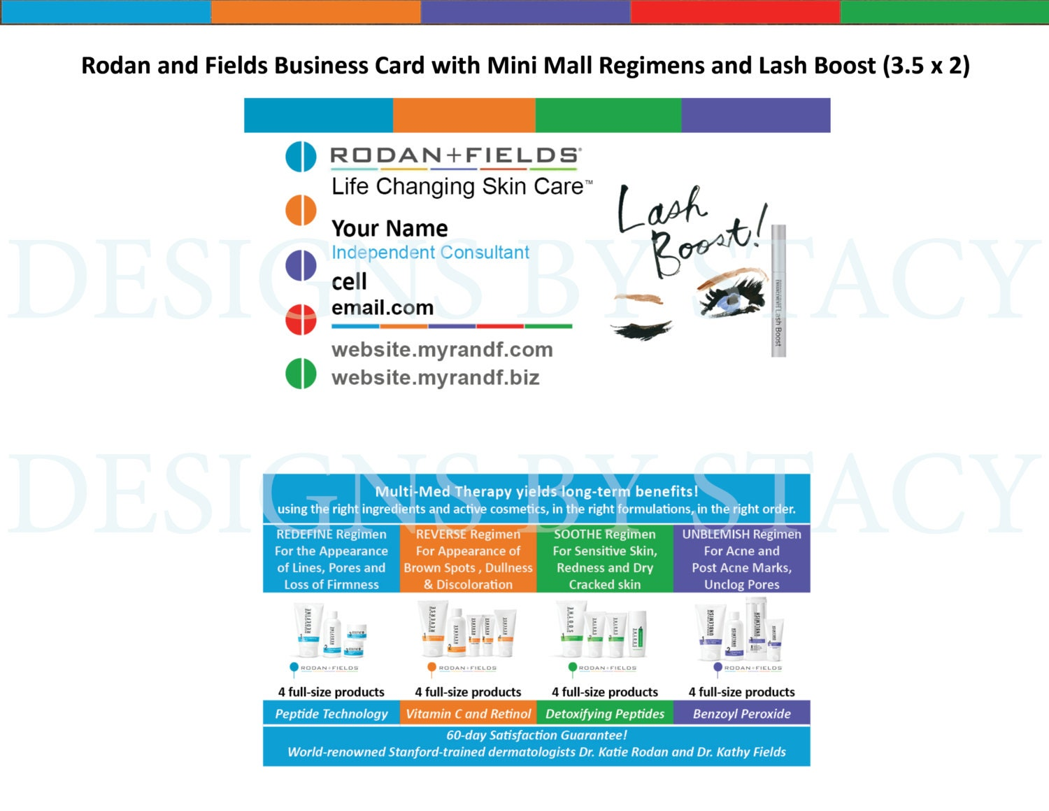 Rodan and Fields Business Card with Mini Mall Regimens and