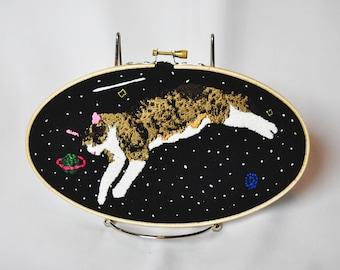 "Homemade ""Orbiting Cooper"" Embroidery Hoop, Wall Hanger"
