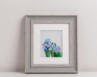 Hyacinths mosaic wall art Mother birthday flowers Unique floral picture Framed stained glass Hyacinths flowers wall decor bedroom modern art