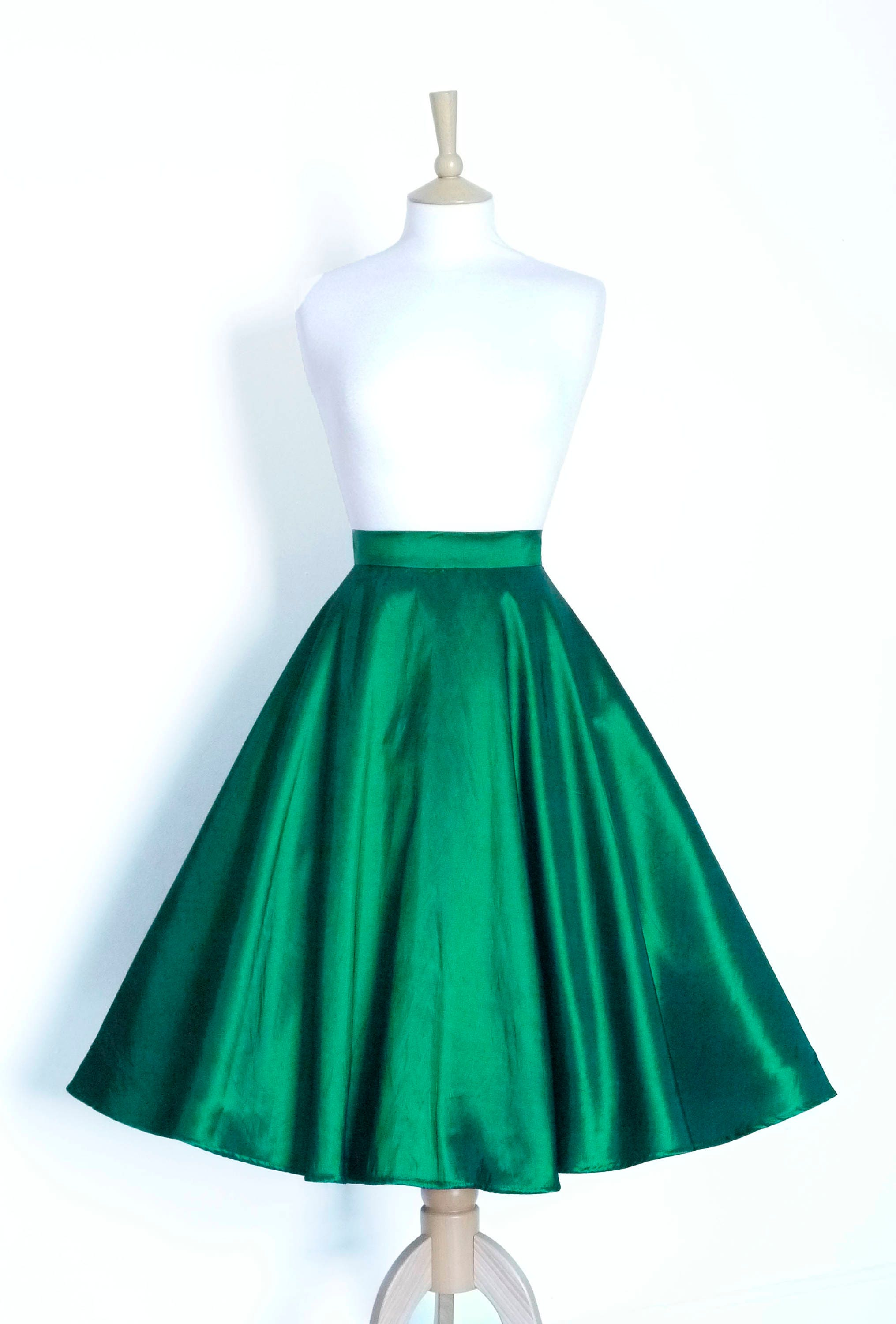 Emerald Green Taffeta Circle Skirt Made by Dig For Victory