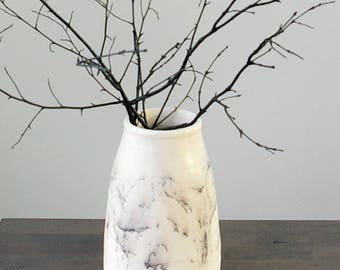 Off White Vase, Horse Hair Raku Pottery, Black White Decor, Marble Look Vase, Rustic Modern Home Decor Gift, Wedding New Home Shower Gift
