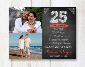 Personalized 25th anniversary love story chalkboard print - 25 year married gift for wife husband women men sister brother - DIGITAL FILE!