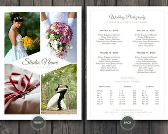 Wedding Photographer Pricing Guide / Price Sheet List 5x7 v2 - Photoshop PSD Template - Easy Editing: Change Colors, Photos and Details Fast