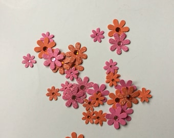 Scrapbooking flowers pink/orange glitter decoration