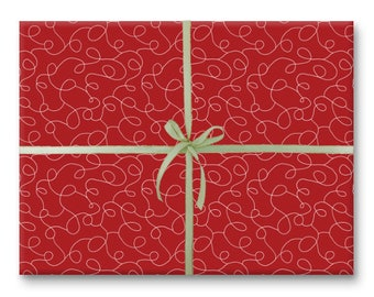 Red Squiggles Holiday Gift Wrap - Wrapping Paper Sheet
