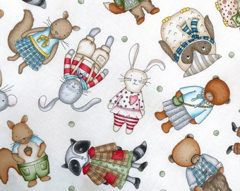 Woodland Baby toys fabric, Fun kids fabric, toddler animal toys fabric 100% cotton for Quilting, arts crafts and general sewing projects