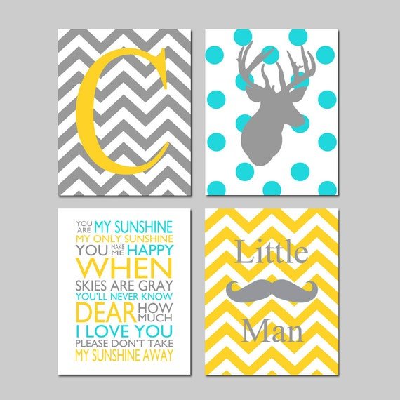 Baby Boy Nursery Art Deer Nursery Prints Kids Wall Art