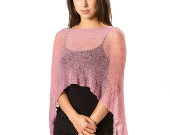 Knit Poncho, Womens Poncho, Infinity Poncho, Boho Beach Poncho,  Resort Wear, Summer Poncho, Mauve Pink Poncho #57