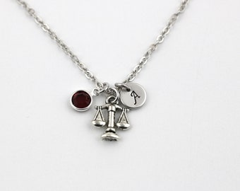 small scales of justice necklace, sterling silver filled, initial necklace, OPTIONAL birthstone or pearl, lawyer jewelry, necklace for judge