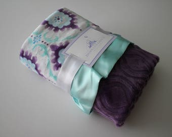 Minky Flourish Cuddle Lilac, Purple, Saltwater Blue with Embossed Marquise in Gray, Baby Blanket, Crib Bedding, Nursery, Baby Shower
