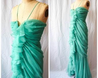 Travilla | Vintage 1970s Evening Gown Cascading Ruffles Mint Chiffon Column Dress with Flowing Train Spaghetti Strap 70s Goddess Gown Sz. XS