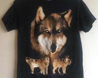 80's Wolf Print T-shirt