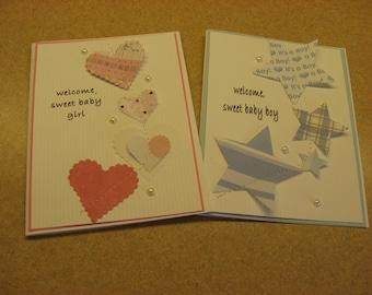 Sewn Handmade New Baby Card. Baby Girl. Baby Boy. Baby Shower