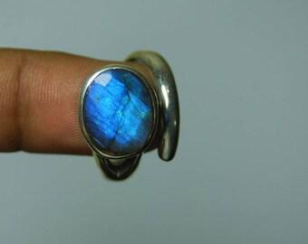blue fire labradorite sterling silver ring size 8.5 free size