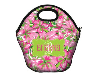 Monogrammed Lunch Box Lunch Tote Personalized Insulated Lunch Bag For Women Lilly Inspired Custom Monogram Lunch Bag Monogrammed Gifts