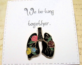 Lung Enamel Pin with handmade Punny card & envelope - Lapel Pin - Hard Enamel Pin - Horror - Halloween - Trending - Backpack Pin
