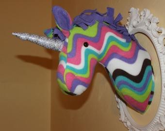 Customizable fleece stuffed unicorn wall mount/nursery decor/home decor/ faux taxidermy