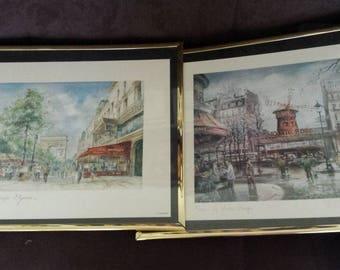 Paris Framed Prints, Les Champs Elysees by Robert and Le Moulin Rouge by Brunet, Vintage Parisian Art Prints
