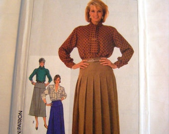 Vintage 1980s Simplicity 7098 pleated or straight skirt sewing pattern