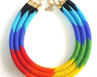 Rainbow necklace, handmade necklace, African necklace, beaded necklace, statement necklace, necklace for women gifts for women boho necklace