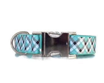 Plaid dog collar, Mint dog collar, Dog collar, male dog collar, girl dog collar, luxe dog collar, female dog collar, boy dog collar