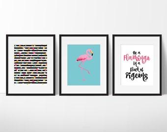 Flamingo Decor Girl, Be A Flamingo Quote, Flamingo Print , Pink Flamingo Decor, Gift Under 20