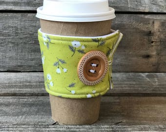 Spring Green and White Flower Coffee Cozy