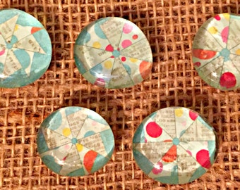 Recycled Glass Bubble Magnets-Pinwheel (Ready to Ship)