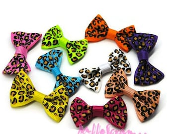 Set of 9 bows leopard multicolor scrapbooking card making embellishment *.