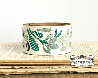 your words cuffs - custom hand stamped leather belt bracelet - personalized with your words - white turquoise blue embroidered leather cuff