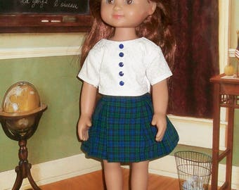 Plaid Pleated Skirt & white tonal top for 13-14.5 inch dolls