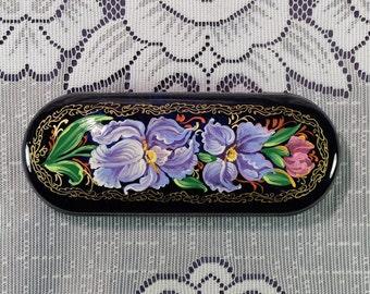 Hard Eyeglasses case, Flowers glasses case, hand painted eye glasses case,  gift for mom, Eyeglass case, glasses hard case, gift for her
