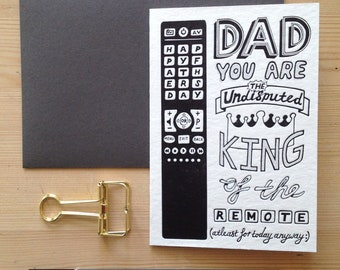 King of the remote luxury letterpress father's day card
