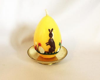 1960s EASTER EGG Candle With RABBIT Germany, Vintage Wax Easter Egg 3D Bunny  Eggs Flowers