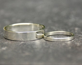 smooth silver matching wedding bands, set of two matching wedding rings, eco friendly sterling silver, shiny or brushed finish, mens  Women