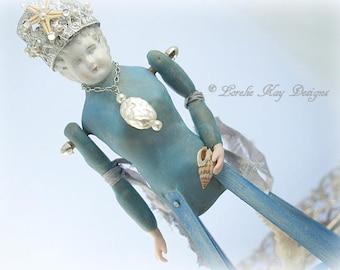 Lorelei Mermaid Santos Inspired Cage Art Doll Relic Look Sculpted Wood Cage Handmade Miniature Santos Doll Lorelie Kay Original