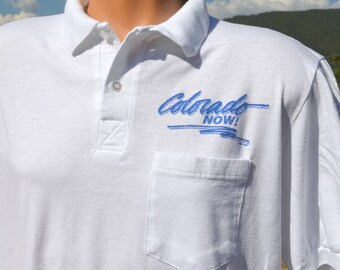 vintage 90s golf polo shirt COLORADO NOW! pocket white soft Medium Large 1990