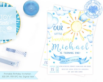Printable Sunshine Birthday Invitation Boy, 1st Birthday Invitation Boy, First Birthday Invitation Boy, Summer Birthday Party Invitation Boy