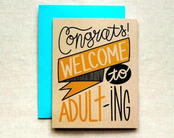 Funny Graduation Card, Congrats Card, Card For Graduate, Adulting Card