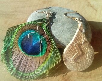 Oak and natural Peacock feather earrings
