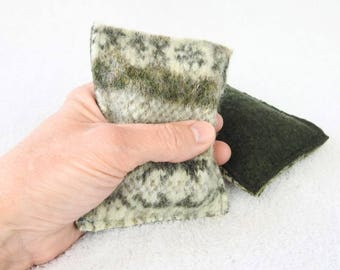 Hand Warmers OLIVE FAIR ISLE Felted Sweater Wool Rice Bags Reusable Handwarmers Pocket Hand Warmers Ecofriendly Gift Under 15 by WormeWoole
