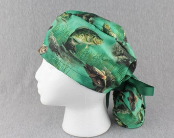 Fishing Ponytail Scrub Hat, Chef or Bakers Hat, OR Hat for Long Hair with Terry Cloth Sweatband Option-ScrubsWithMomAndMe