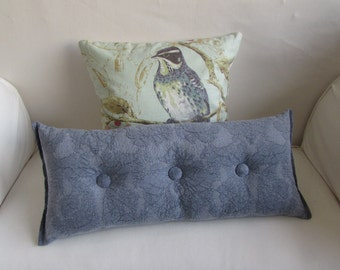 BLUE LILAC accent lumbar throw Bolster Pillow with buttons 11X26