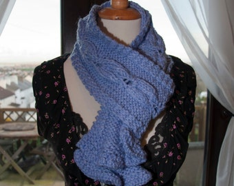 Handknitted Scarf in Lilac Yarn