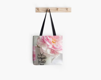 Shabby Chic Tote Bag ~ Pink Peony Photo ~ Girly Gift Idea for Her ~ French Market Tote Bag ~ Spring Floral Accessory, Paris Tote Bag, Flower