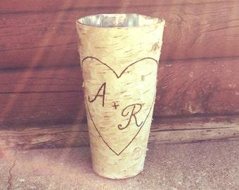 Personalized Birch Vase rustic wedding anniversary birthday valentine Christmas gift
