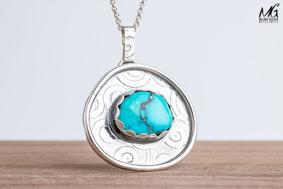 Aqua Blue Morenci Turquoise Gemstone Necklace in Sterling Silver with Swirly Border
