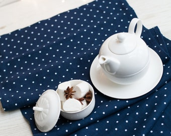 Blue polka dot tablecloth - Blue tablecloth - linen tablecloth -Blue white table cloth -Navy tablecloth - Linen table top -Easter tablecloth