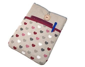 iPad mini sleeve, iPad mini case, iPad mini cover - Hearts Fabric case iPad Mini 1 2 3 4, iPad Mini pouch